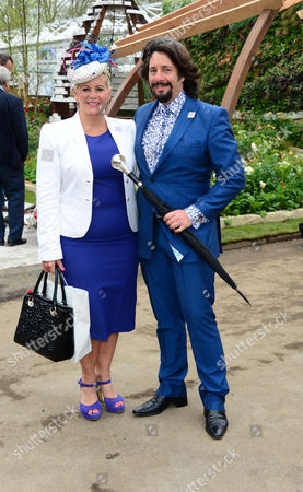 Jackie Llewelyn-Bowen and Laurence Llewelyn-Bowen are seen at the RHS Chelsea Flower Show in London on