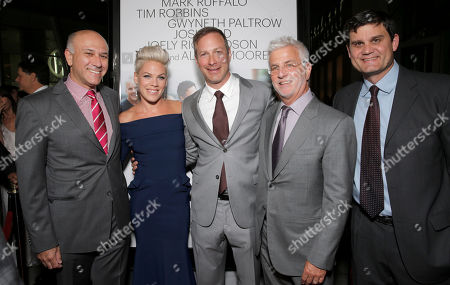 """Roadside Attractions Co-President Howard Cohen, Alecia Moore and Director/Writer Stuart Blumberg, Co-Chairman of Lionsgate Motion Picture Group Rob Friedman and Jason Constantine arrive on the red carpet at the Los Angeles Premiere of """"Thanks for Sharing"""" at the ArcLight Cinerama Dome on in Los Angeles"""
