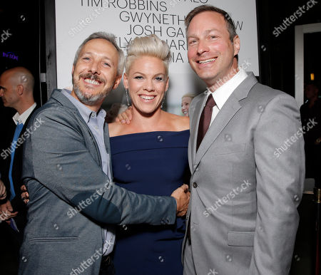 """Matt Winston, Alecia Moore and Director/Writer Stuart Blumberg arrive on the red carpet at the Los Angeles Premiere of """"Thanks for Sharing"""" at the ArcLight Cinerama Dome on in Los Angeles"""
