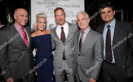 "Roadside Attractions Co-President Howard Cohen, Alecia Moore and Director/Writer Stuart Blumberg, Co-Chairman of Lionsgate Motion Picture Group Rob Friedman and Jason Constantine arrive on the red carpet at the Los Angeles Premiere of ""Thanks for Sharing"" at the ArcLight Cinerama Dome on in Los Angeles"