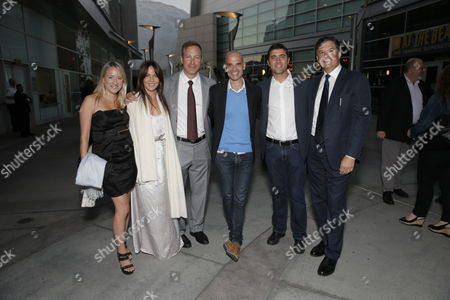 "Producer Miranda de Pencier, Producer Leslie Urdang, Director/Writer Stuart Blumberg, Producer Bill Migliore, Producer David Koplan and Producer Dean Vanech arrive on the red carpet at the Los Angeles Premiere of ""Thanks for Sharing"" at the ArcLight Cinerama Dome on in Los Angeles"
