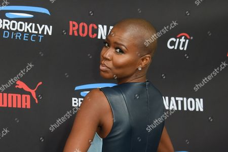 Veronika Bozeman arrives at the Roc Nation Pre-Grammy Brunch at RocNation Offices, in Beverly Hills, Calif
