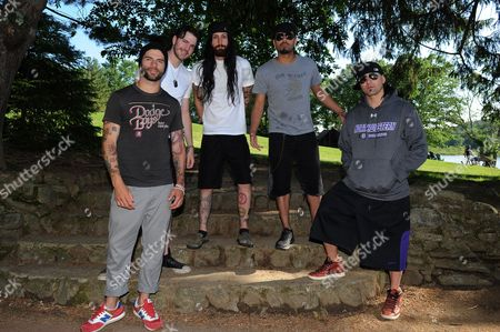 Josh Marunde, Nick Fuelling, Matt DiRito, Leigh Kakaty and Dave Grahs of Pop Evil attend ShipRocked Summer Camp at Club Getaway on June 16,2013 in Kent,Connecticut