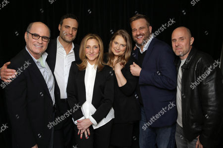 Clyde Phillips, Dominic Fumusa, Edie Falco, Merritt Wever, Stephen Wallem and Paul Schulze seen at Showtime's 2015 Winter TCA held at the The Langham Huntington, Pasadena, in Pasadena, Calif