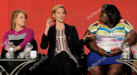 """Gaborey Sidibe Laura Linney, center, a cast member in the television series """"The Big C: hereafter,"""" makes a point as the show's executive producer Jenny Bicks, left, and fellow cast member Gabourey Sidibe look on at the Showtime Winter TCA Tour at the Langham Huntington Hotel, in Pasadena, Calif"""