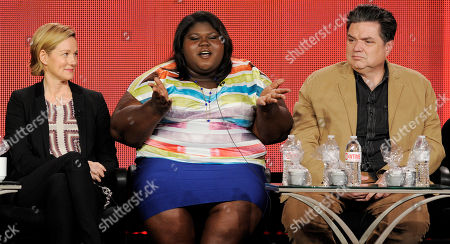"""Gabourey Sidibe, center, a cast member in the television series """"The Big C: hereafter,"""" answers a question as fellow cast members Laura Linney, left, and Oliver Platt look on at the Showtime Winter TCA Tour at the Langham Huntington Hotel, in Pasadena, Calif"""