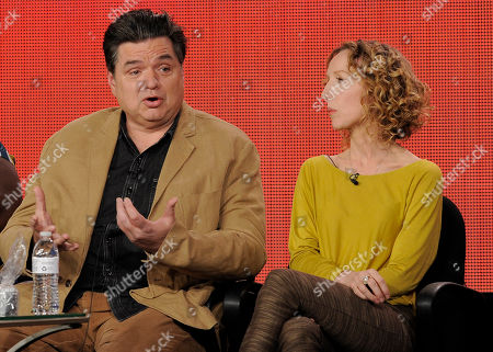 "Oliver Platt, left, a cast member in the television series ""The Big C: hereafter,"" makes a point as the show's executive producer Darlene Hunt looks on at the Showtime Winter TCA Tour at the Langham Huntington Hotel, in Pasadena, Calif"