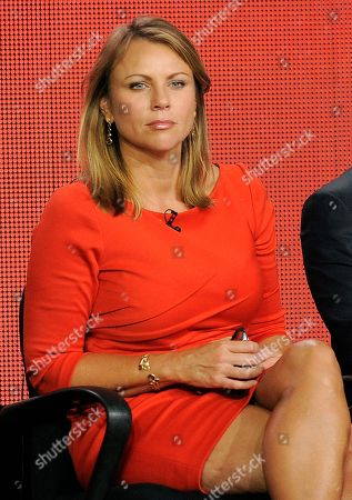 "Lara Logan, a correspondent on the program ""60 Minutes of Sports,"" is pictured during a panel discussion on the show at the Showtime Winter TCA Tour at the Langham Huntington Hotel, in Pasadena, Calif"
