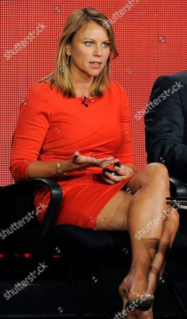 "Lara Logan, a correspondent on the program ""60 Minutes of Sports,"" takes part in a panel discussion on the show at the Showtime Winter TCA Tour at the Langham Huntington Hotel, in Pasadena, Calif"