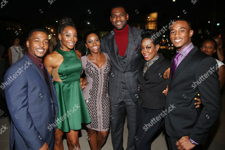 """IMAGE DISTRIBUTED FOR STARZ ENTERTAINMENT - From left, RonReaco Lee, Erica Ash, Teyonah Parris, LeBron James, Tichina Arnold, and Jessie T. Usher pose together at the premiere of the STARZ original series """"Survivor Remorse"""" on in Los Angeles. """"Survivor Remorse"""" premieres Saturday, Oct. 4 exclusively on STARZ"""