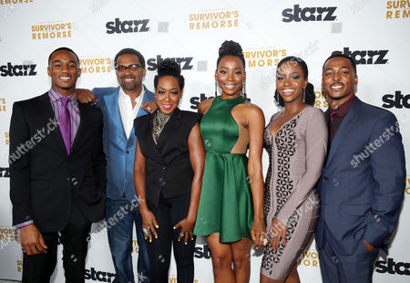 "IMAGE DISTRIBUTED FOR STARZ ENTERTAINMENT - From left, Jessie T. Usher, Mike Epps, Tichina Arnold, Erica Ash, Teyonah Parris, and RonReaco Lee pose together at the premiere of the STARZ original series ""Survivor's Remorse"" on in Los Angeles. ""Survivor's Remorse"" premieres Saturday, Oct. 4 exclusively on STARZ"