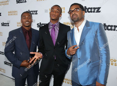 "Jessie T. Usher, center, RonReaco Lee, left, and Mike Epps pose together at the premiere of the STARZ original series ""Survivorâ?™s Remorse"" on in Los Angeles. ""Survivorâ?™s Remorse"" premieres Saturday, Oct. 4 exclusively on STARZ"