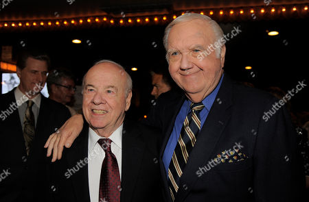 "Tim Conway, left, and Chuck McCann pose together at ""Still Laugh In: A Toast to George Schlatter,"" at the Saban Theatre on in Beverly Hills, Calif"