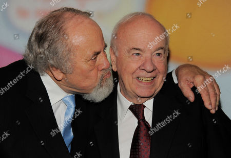 """George Schlatter, left, and Tim Conway pose together at """"Still Laugh In: A Toast to George Schlatter,"""" at the Saban Theatre on in Beverly Hills, Calif"""