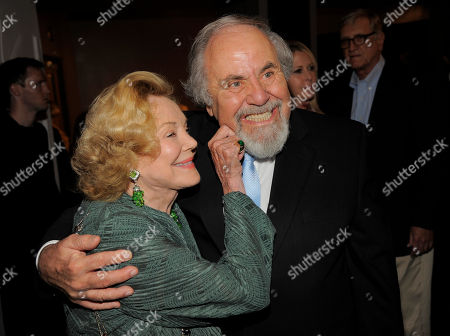 """Stock Picture of George Schlatter, right, and Barbara Sinatra pose together at """"Still Laugh In: A Toast to George Schlatter,"""" at the Saban Theatre on in Beverly Hills, Calif"""