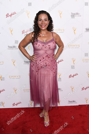 Stock Picture of Marabina Jaimes arrives at the Television Academy's 67th Emmy Performance Peer Group Celebration at the Montage Beverly Hills on in Beverly Hills, Calif