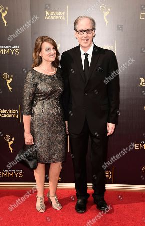 Joan Beal, left, and Jeff Beal arrive at night one of the Television Academy's 2016 Creative Arts Emmy Awards at the Microsoft Theater on in Los Angeles