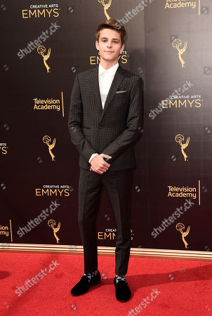 Corey Fogelmanis arrives at night one of the Television Academy's 2016 Creative Arts Emmy Awards at the Microsoft Theater on in Los Angeles