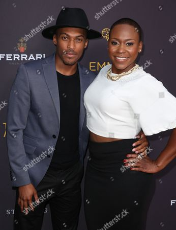 Shamar Sanders, left, and Natalie Whittle arrive at the Television Academy's Performers Emmy Celebration at the Montage Beverly Hills on