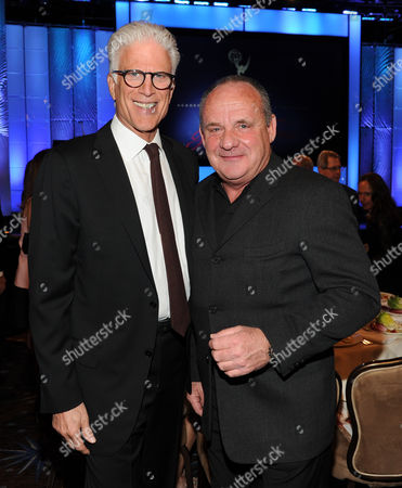 MARCH 11: Presenter Ted Danson (L) and Paul Guilfoyle in the audience at the Academy of Television Arts & Sciences 22nd Annual Hall of Fame Gala at the Beverly Hilton Hotel on in Beverly Hills, California