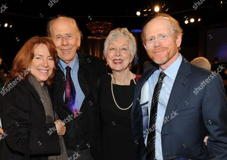 MARCH 11: (L-R) Cheryl Howard, Rance Howard, Judy Howard and Ron Howard backstage at the Academy of Television Arts & Sciences 22nd Annual Hall of Fame Gala at the Beverly Hilton Hotel on in Beverly Hills, California