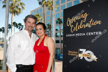 Jeremy Miller, left, and Joanie Miller attend the Television Academy's 70th Anniversary Gala and Opening Celebration for its new Saban Media Center, in the NoHo Arts District in Los Angeles