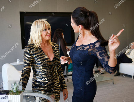 Suzanne Somers, left, and Christine Kludjian attend the Television Academy's 70th Anniversary Gala and Opening Celebration for its new Saban Media Center, in the NoHo Arts District in Los Angeles