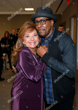 Dawn Wells, left, and Arsenio Hall attend the Television Academy's 70th Anniversary Gala and Opening Celebration for its new Saban Media Center, in the NoHo Arts District in Los Angeles