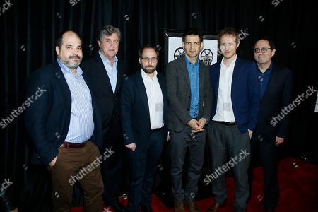 "From left to right, Michael Barker, Gabor Rajna, Gabor Sipos, Geza Rohrig, Laszlo Nemes, and Tom Bernard, from ""Son of Saul"" pose at The 41st Annual Los Angeles Film Critics Association Awards at the InterContinental hotel on in Los Angeles"