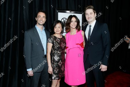 From left to right, Derek Smith, Rosa Tran, Abigail Spencer and Duke Johnson pose at The 41st Annual Los Angeles Film Critics Association Awards at the InterContinental hotel on in Los Angeles