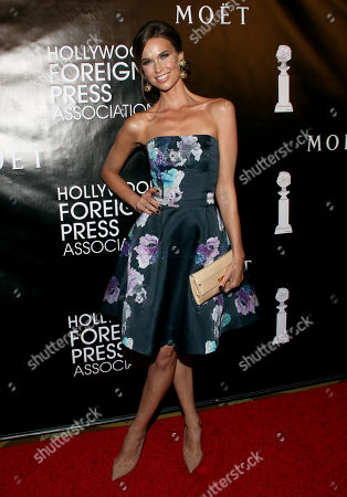 Egith van Dinther arrives at The Hollywood Foreign Press Association's Annual Grants Banquet at the Beverly Wilshire hotel, in Beverly Hills, Calif