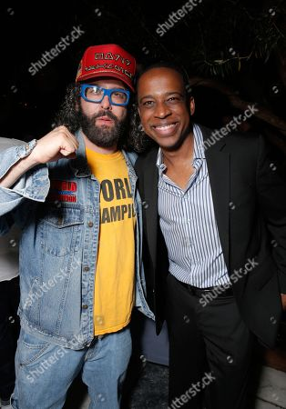 Judah Friedlander, left, and Keith Powell attend The Hollywood Reporter celebration of the Emmy nominees and new fall TV season presented by Samsung Galaxy, Asos, Porsche, Pandora and Ketel One,, at Soho House in West Hollywood, Calif