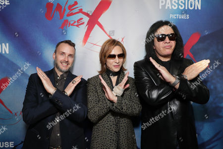 """Director Stephen Kijak, Yoshiki and Gene Simmons seen at The Los Angeles Premiere """"We Are X"""", in Los Angeles, CA"""