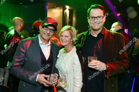 From left, prodcer Deepak Nayar, Dina Spybey and director Mark Waters attend a Vampire Academy special event featuring a performance by Iggy Azalea hosted by The Weinstein Company and Universal Music Enterprises,, in Los Angeles