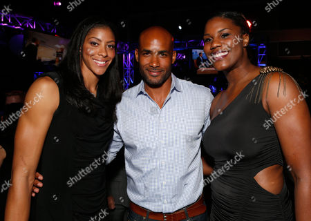From left, Candace Parker, Boris Kodjoe, and Jantel Lavender attend the Time Warner Cable Sports launch event hosted by Time Warner Cable Sports, in Los Angeles