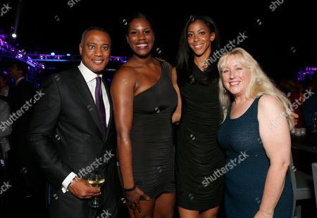 David Rone, President, TWC Sports, Jantel Lavender, Candace Parker, and Melinda Witmer, Executive Vice President and Chief Video and Content Officer, attend the Time Warner Cable Sports launch event hosted by Time Warner Cable Sports, in Los Angeles
