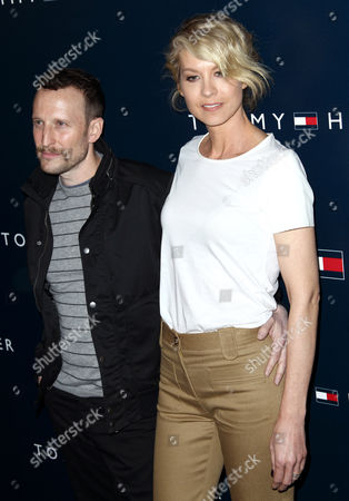 Jenna Elfman, right, and Bodhi Elfman arrive at Tommy Hilfiger's new west coast flagship store opening in Los Angeles