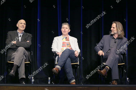 Jeffrey Tambor, from left, Ali Liebegott, and Jim Frohna attend Transparent: Anatomy of an Episode at Ace Hotel, in Los Angeles