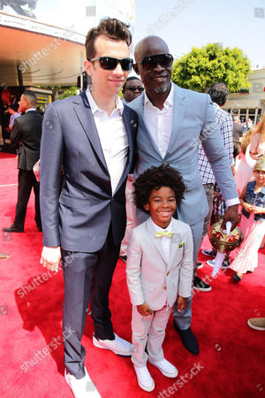 Jay Baruchel, Kenzo Lee Hounsou and Djimon Hounsou seen at the Twentieth Century Fox and DreamWorks Animation Los Angeles Premiere of 'How to Train Your Dragon 2', in Westwood, Calif