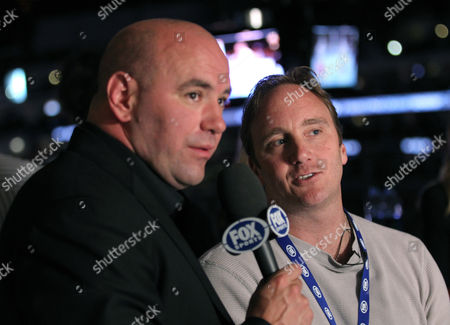 UFC President Dana White, left, and Jay Mohr attend the UFC on Fox event at Staples Center, in Los Angeles
