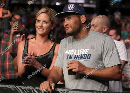 Dan Henderson, right, and guest attend the UFC on Fox event at Staples Center, in Los Angeles
