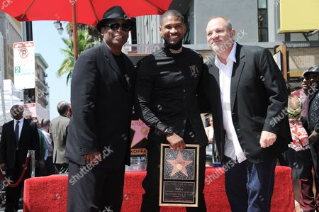 LA Reid, from left, Usher and Harvey Weinstein attend a ceremony honoring Usher with a star on the Hollywood Walk of Fame, in Los Angeles
