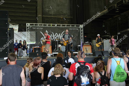 Stock Picture of Andrew Jordan, Ryan DePaolo, Ryan Kienle and Aaron Stern with Matchbook Romance performs during the Vans Warped Tour 2015 at Aaron's Amphitheatre, in Atlanta