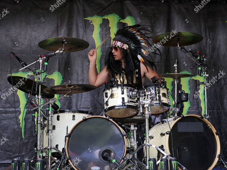 Robert Ortiz with Escape the Fate performs during the Vans Warped Tour 2015 at Aaron's Amphitheatre, in Atlanta