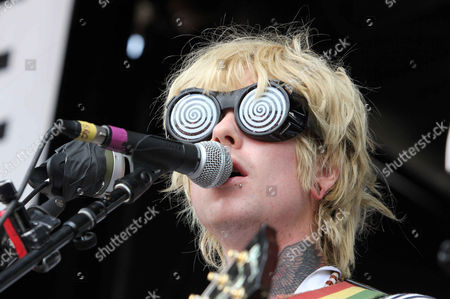 Stock Picture of Christofer Drew with Never Shout Never performs during the Vans Warped Tour 2015 at Aaron's Amphitheatre, in Atlanta