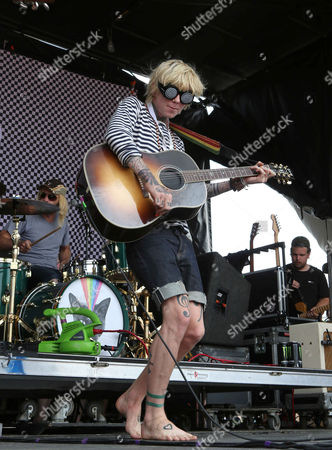 Stock Image of Christofer Drew with Never Shout Never performs during the Vans Warped Tour 2015 at Aaron's Amphitheatre, in Atlanta
