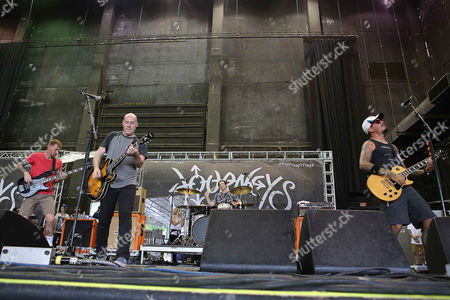 Stock Image of Andrew Jordan, Ryan DePaolo, Ryan Kienle and Aaron Stern with Matchbook Romance performs during the Vans Warped Tour 2015 at Aaron's Amphitheatre, in Atlanta