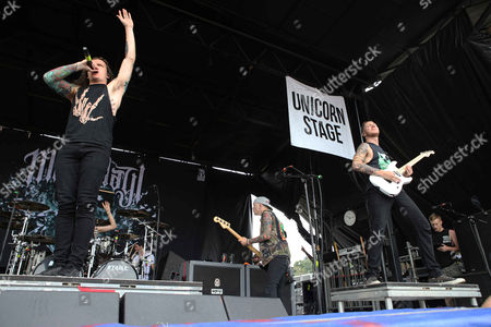 Levi Benton, Ryan Neff, Jerod Boyd, Justin Aufdemkampe and B.J. Stead with Miss May I performs during the Vans Warped Tour 2015 at Aaron's Amphitheatre, in Atlanta