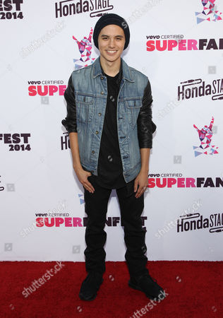 Stock Photo of Cole Plante arrives at the Vevo Certified SuperFanFest Live Concert at the Barker Hangar, in Santa Monica, Calif