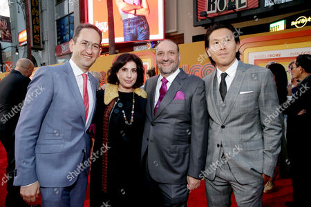"""Greg Silverman, President, Creative Development and Worldwide Production, Warner Bros. Pictures, Sue Kroll, President of Worldwide Marketing and International Distribution for Warner Bros. Pictures, Producer Joel Silver and Executive Producer Ken Kao seen at Warner Bros. Premiere of """"The Nice Guys"""" at TCL Chinese Theatre, in Los Angeles"""